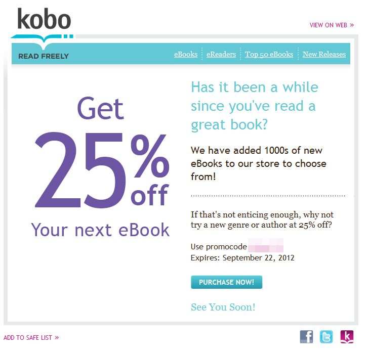 Kobo Promo Codes for November, Save with 15 active Kobo promo codes, coupons, and free shipping deals. 🔥 Today's Top Deal: (@Amazon) Up To 20% Off Kobo. On average, shoppers save $37 using Kobo coupons from kaipelrikun.ml